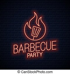 BBQ neon sign. Barbecue neon banner on wall
