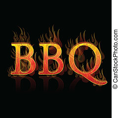 BBQ on fire word icon background