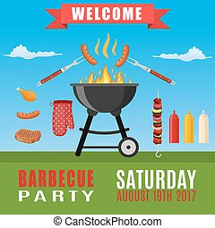 Bbq or barbecue party invitation