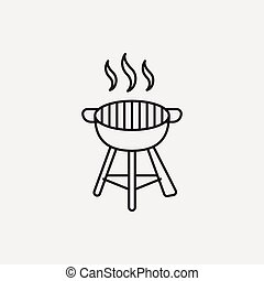 BBQ oven line icon