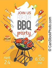 BBQ Party Announcement Flat Poster - BBQ season opening...