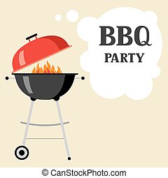 Bbq party background with grill and fire