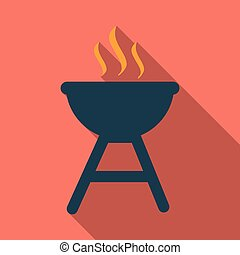 BBQ party banner grill with fire isolated on background