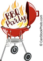 BBQ party banner grill with fire