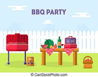 Bbq Party Banner Template, Outdoor Picnic Elements, Barbecue Invitation Card, Food Flyer Vector Illustration