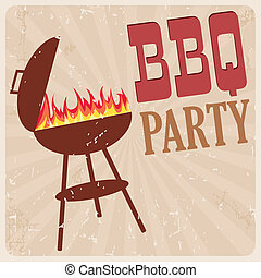 BBQ party card, vector illustration