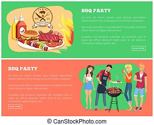 BBQ Party Collection of Web Vector Illustration