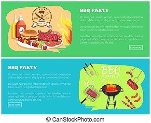 BBQ Party Collection Websites Vector Illustration