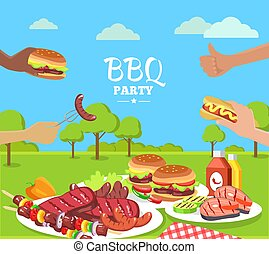 BBQ Party Colorful Poster with Cute Summer Park
