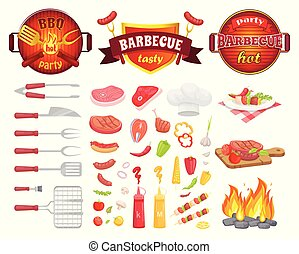 BBQ Party Dishware Vegetables Vector Illustration
