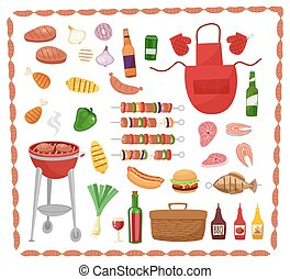 BBQ party elements isolated on white background.Products BBQ,steak, fish meat, beef, vegetables, herbs, fast food , wine and beer. The elements of the meal in a frame of sausages