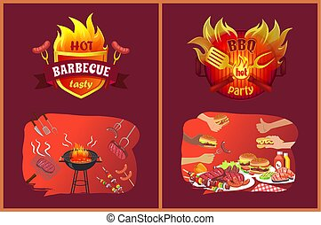 Bbq Party Emblems in Flame and Food on Grill Set