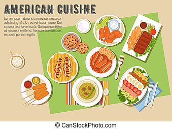 Bbq party flat icon with american cuisine dishes