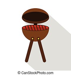 BBQ party grill icon, flat style