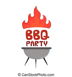BBQ Party Grill With Fire Background Vector Image