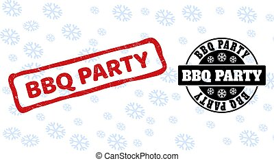 BBQ Party Grunge and Clean Stamp Seals for Christmas