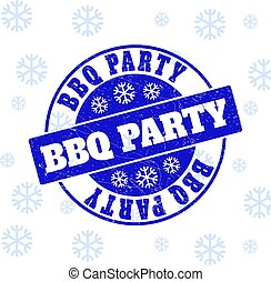 BBQ Party Grunge Round Stamp Seal for New Year