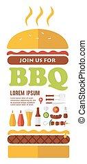 BBQ party invitation. designed as a hamburger