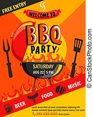 BBQ party invitation flyer.