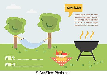 BBQ Party invitation. outdoor scene with grill and picnic basket