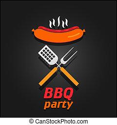 BBQ party invitation. Vector illustration poster