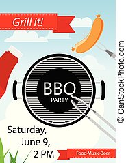 Bbq party invitation with grill and food.