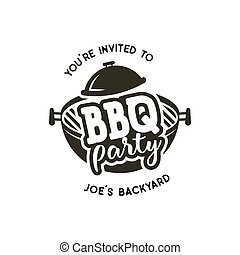BBQ party label in monochrome style. Invitation to grill, barbeque event. Isolated on white background. Vintage black monochrome design. Vector silhouette