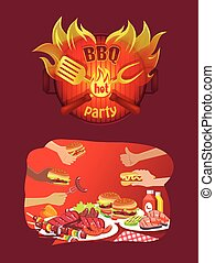 BBQ Party Logo in Flame and Grill Food in Hands