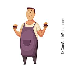 BBQ party. Man with a barbecue grill. Picnic with fresh food. Happy smiling man character cooked a barbecue grill. Vector flat cartoon illustration
