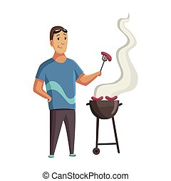 BBQ party. Man with a barbecue grill. Picnic with fresh food steak and sausages. Happy smiling man character barbecuing. Vector flat cartoon illustration