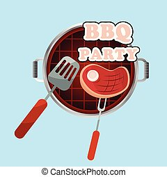 BBQ Party Meat On The Grill Background Vector Image