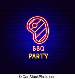BBQ Party Neon Label