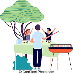 BBQ party. Parent and children. Eating on nature, backyard picnic. Kids happy kebab and vegetables vector illustration