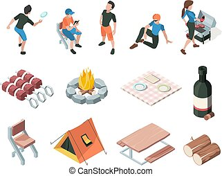 Bbq party. People relax picnic outdoor barbecue fresh products eating persons family playing vector isometric