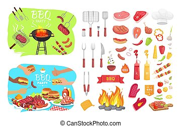 BBQ Party Poster and Icons Vector Illustration