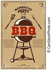 Bbq party poster. Barbeque and grill. Design element for card, banner, flyer.