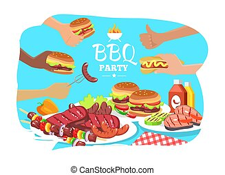 BBQ Party Poster, Colorful Vector Illustration