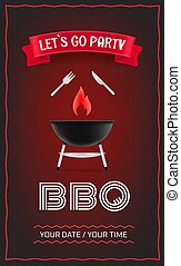 BBQ party poster design template