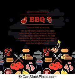 BBQ party poster design with barbeque and meat flat icons