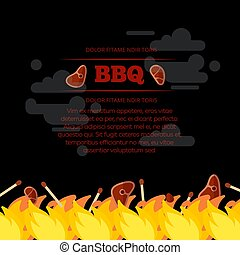 BBQ party poster design with fire and meat