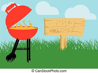 BBQ party poster. Cartoon style vector illustration.