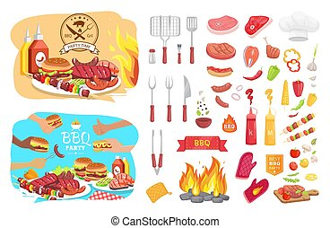 BBQ Party Poster Icons Set Vector Illustration