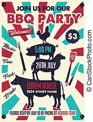 BBQ Party Poster with Chicken, Pig, Sheep, Cow Silhouette. Vector Invitation Card.