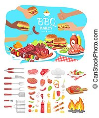 BBQ Party Poster with Icons Vector Illustration