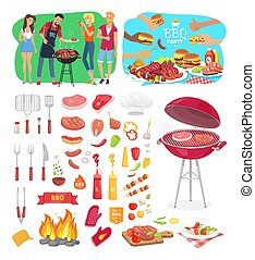 BBQ Party Posters and Icons Vector Illustration