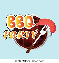 BBQ Party Sausage On Fork Grill Background Vector Image