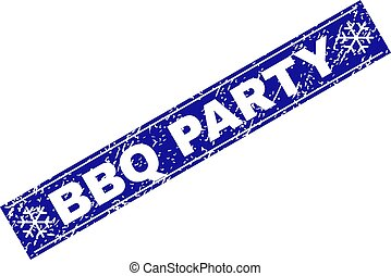 BBQ PARTY Scratched Rectangle Stamp Seal with Snowflakes