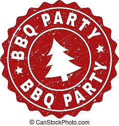 BBQ PARTY Scratched Stamp Seal with Fir-Tree