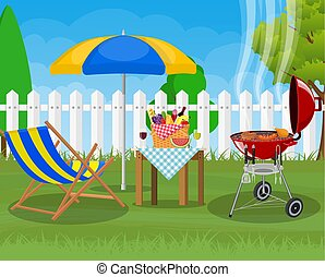 Bbq party. Sun lounger,
