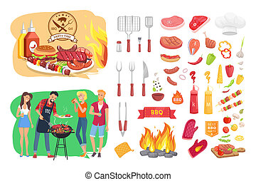 BBQ Party Time Icon Set Poster Vector Illustration